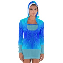 Bleu Ciel  Women s Long Sleeve Hooded T Shirt