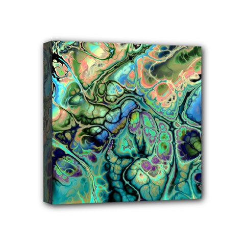 Fractal Batik Art Teal Turquoise Salmon Mini Canvas 4  X 4
