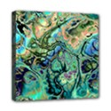 Fractal Batik Art Teal Turquoise Salmon Mini Canvas 8  x 8  View1