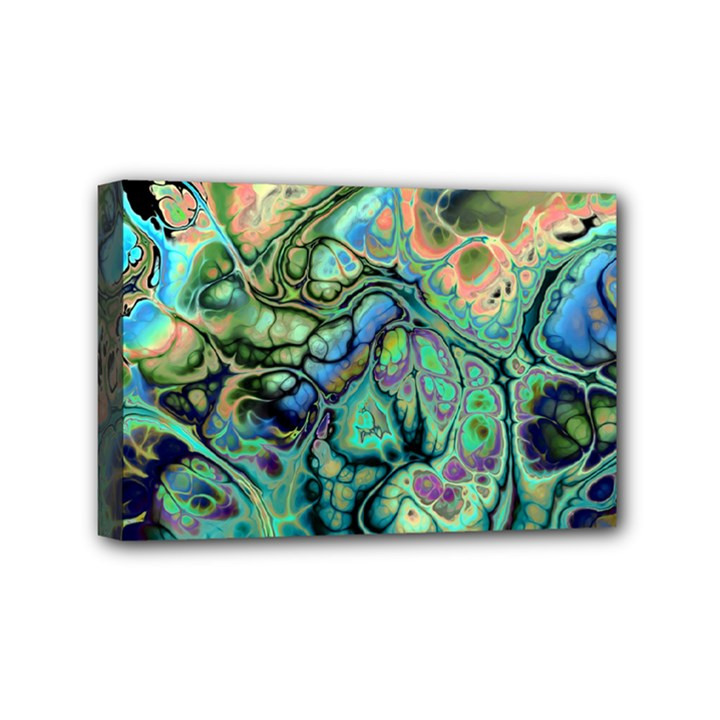 Fractal Batik Art Teal Turquoise Salmon Mini Canvas 6  x 4