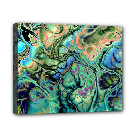 Fractal Batik Art Teal Turquoise Salmon Canvas 10  X 8