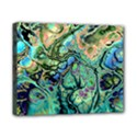 Fractal Batik Art Teal Turquoise Salmon Canvas 10  x 8  View1