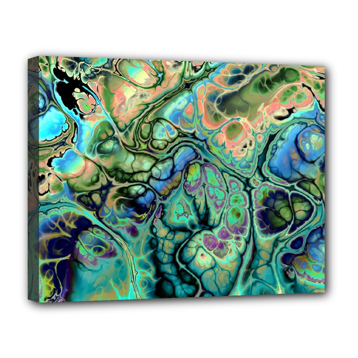 Fractal Batik Art Teal Turquoise Salmon Canvas 14  x 11