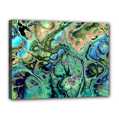 Fractal Batik Art Teal Turquoise Salmon Canvas 16  X 12