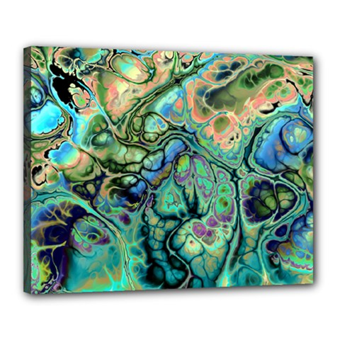 Fractal Batik Art Teal Turquoise Salmon Canvas 20  X 16