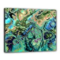 Fractal Batik Art Teal Turquoise Salmon Canvas 20  x 16  View1