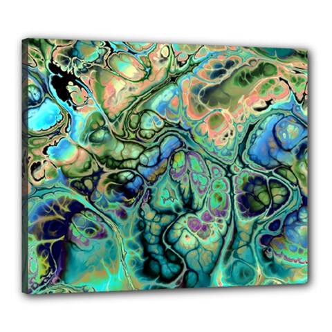 Fractal Batik Art Teal Turquoise Salmon Canvas 24  x 20