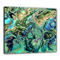 Fractal Batik Art Teal Turquoise Salmon Canvas 24  x 20  View1