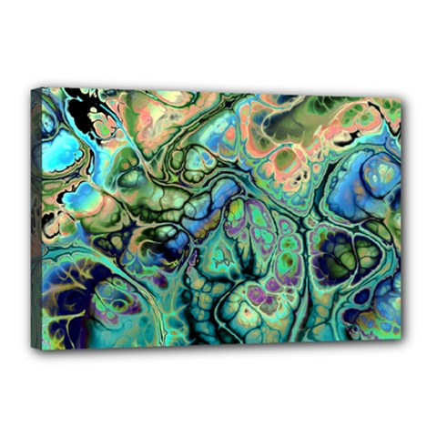 Fractal Batik Art Teal Turquoise Salmon Canvas 18  x 12