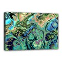 Fractal Batik Art Teal Turquoise Salmon Canvas 18  x 12  View1