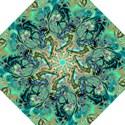 Fractal Batik Art Teal Turquoise Salmon Folding Umbrellas View1