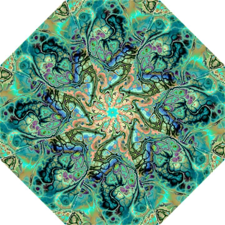 Fractal Batik Art Teal Turquoise Salmon Folding Umbrellas