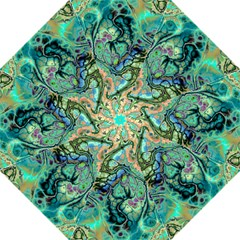 Fractal Batik Art Teal Turquoise Salmon Straight Umbrellas