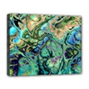 Fractal Batik Art Teal Turquoise Salmon Deluxe Canvas 20  x 16   View1