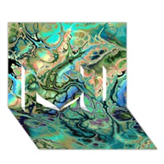 Fractal Batik Art Teal Turquoise Salmon I Love You 3D Greeting Card (7x5)