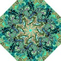 Fractal Batik Art Teal Turquoise Salmon Hook Handle Umbrellas (Large) View1