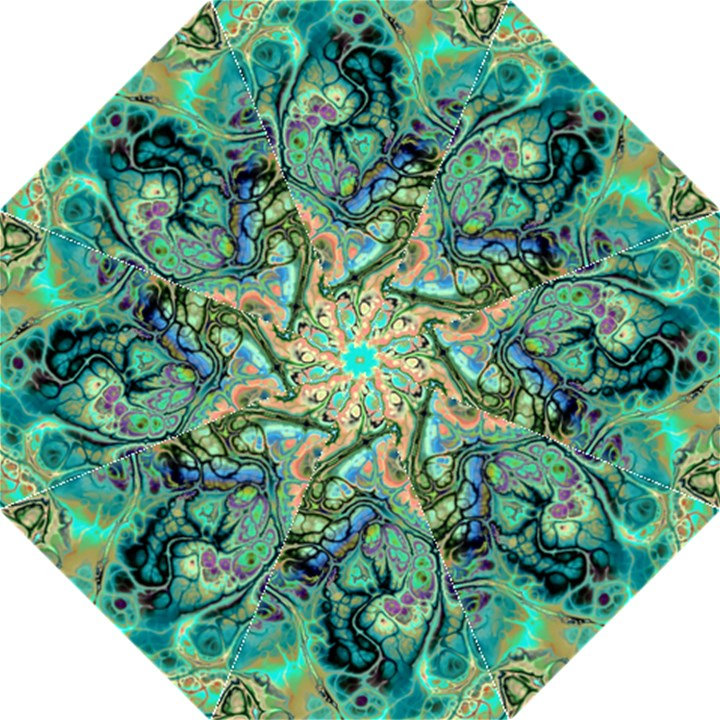 Fractal Batik Art Teal Turquoise Salmon Hook Handle Umbrellas (Large)