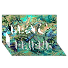 Fractal Batik Art Teal Turquoise Salmon Best Friends 3d Greeting Card (8x4)