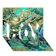 Fractal Batik Art Teal Turquoise Salmon Boy 3d Greeting Card (7x5)