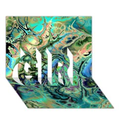 Fractal Batik Art Teal Turquoise Salmon Girl 3d Greeting Card (7x5)