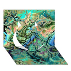 Fractal Batik Art Teal Turquoise Salmon Heart 3d Greeting Card (7x5)