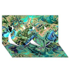 Fractal Batik Art Teal Turquoise Salmon Twin Hearts 3D Greeting Card (8x4)