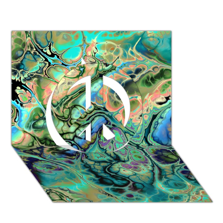 Fractal Batik Art Teal Turquoise Salmon Peace Sign 3D Greeting Card (7x5)