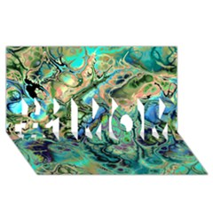 Fractal Batik Art Teal Turquoise Salmon #1 MOM 3D Greeting Cards (8x4)