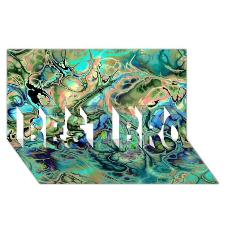 Fractal Batik Art Teal Turquoise Salmon BEST BRO 3D Greeting Card (8x4)