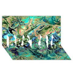Fractal Batik Art Teal Turquoise Salmon BEST SIS 3D Greeting Card (8x4)