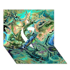 Fractal Batik Art Teal Turquoise Salmon Ribbon 3D Greeting Card (7x5)