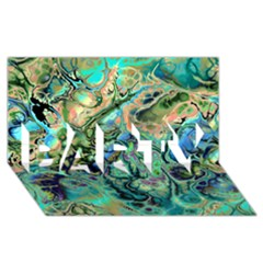Fractal Batik Art Teal Turquoise Salmon PARTY 3D Greeting Card (8x4)