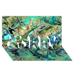 Fractal Batik Art Teal Turquoise Salmon Sorry 3d Greeting Card (8x4)