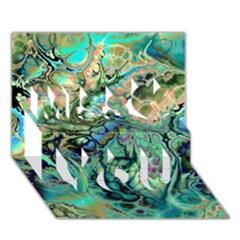 Fractal Batik Art Teal Turquoise Salmon Miss You 3d Greeting Card (7x5)