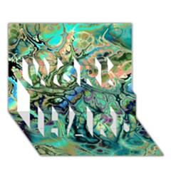 Fractal Batik Art Teal Turquoise Salmon Work Hard 3d Greeting Card (7x5)