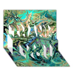 Fractal Batik Art Teal Turquoise Salmon THANK YOU 3D Greeting Card (7x5)