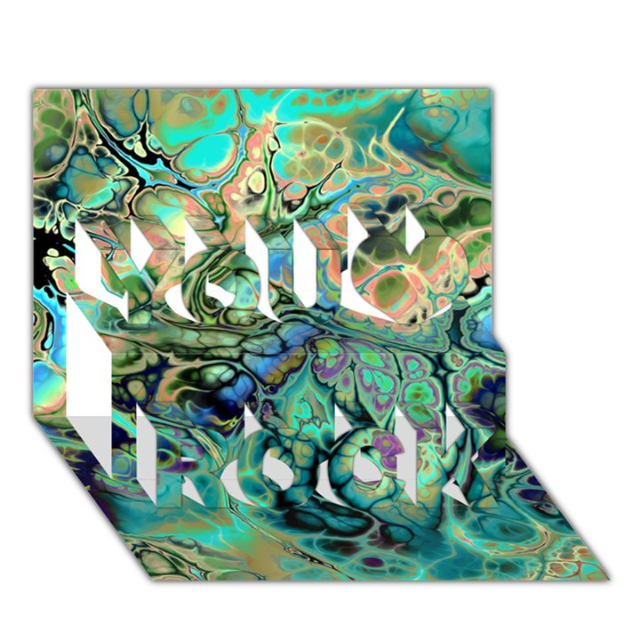 Fractal Batik Art Teal Turquoise Salmon You Rock 3D Greeting Card (7x5)