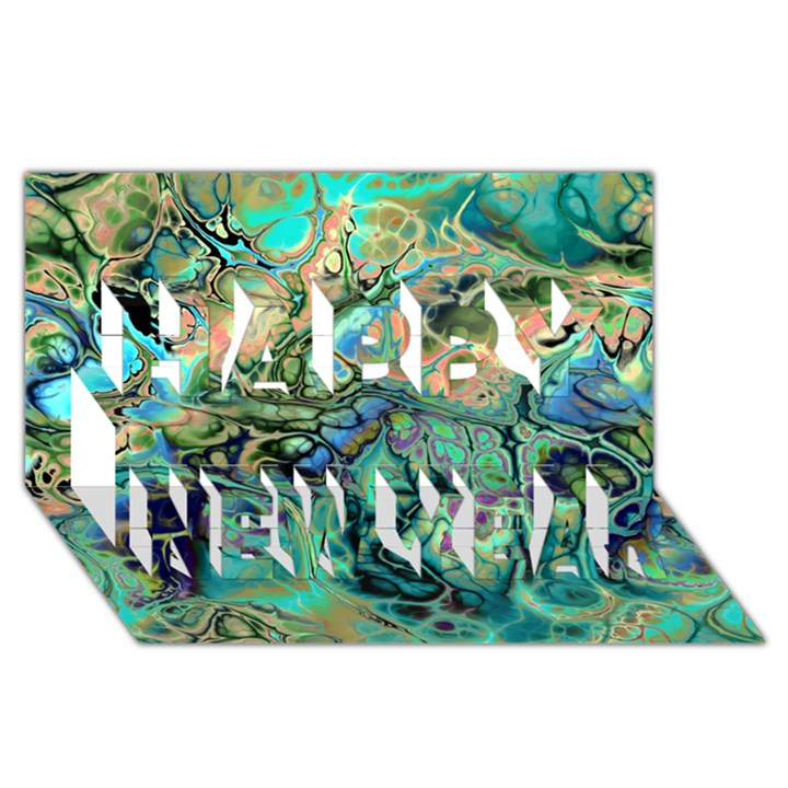 Fractal Batik Art Teal Turquoise Salmon Happy New Year 3D Greeting Card (8x4)