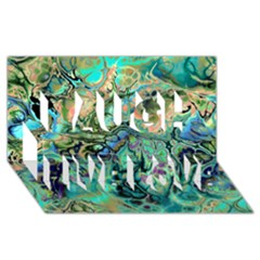 Fractal Batik Art Teal Turquoise Salmon Laugh Live Love 3D Greeting Card (8x4)