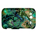 Fractal Batik Art Teal Turquoise Salmon HTC Wildfire S A510e Hardshell Case View1
