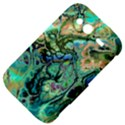 Fractal Batik Art Teal Turquoise Salmon HTC Wildfire S A510e Hardshell Case View4