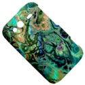 Fractal Batik Art Teal Turquoise Salmon HTC Wildfire S A510e Hardshell Case View5