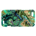 Fractal Batik Art Teal Turquoise Salmon HTC One V Hardshell Case View1