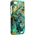 Fractal Batik Art Teal Turquoise Salmon HTC One V Hardshell Case View2
