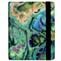 Fractal Batik Art Teal Turquoise Salmon Apple iPad 3/4 Flip Case View2