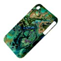 Fractal Batik Art Teal Turquoise Salmon Apple iPhone 3G/3GS Hardshell Case (PC+Silicone) View4