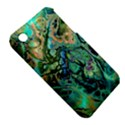 Fractal Batik Art Teal Turquoise Salmon Apple iPhone 3G/3GS Hardshell Case (PC+Silicone) View5