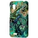 Fractal Batik Art Teal Turquoise Salmon HTC Desire VT (T328T) Hardshell Case View3