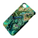 Fractal Batik Art Teal Turquoise Salmon Apple iPhone 4/4S Hardshell Case with Stand View4