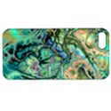 Fractal Batik Art Teal Turquoise Salmon Apple iPhone 5 Hardshell Case with Stand View1